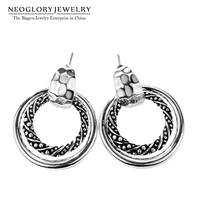 Neoglory Fashion Double Hoop Earrings Allergy Free Jewelry Antique Silver Color Plated For Women 2016 New