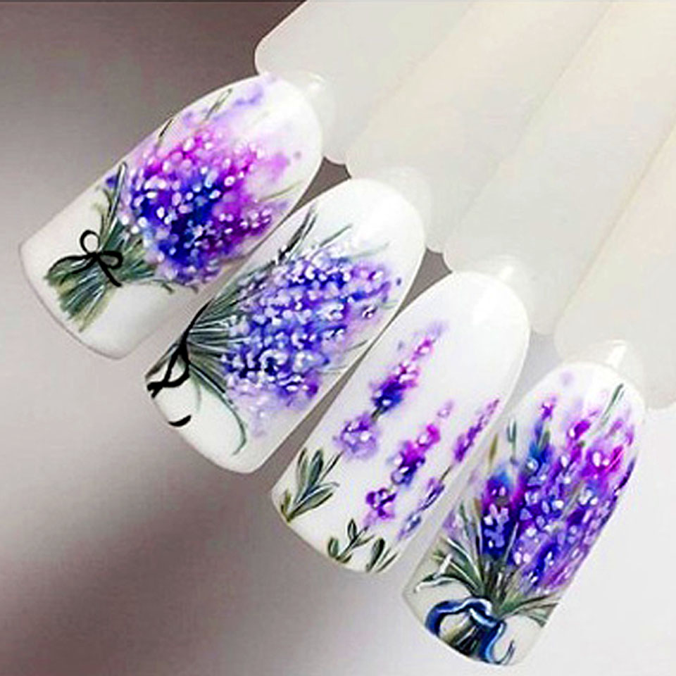 Detail feedback questions about lavender nail stickers on nails blooming flower stickers for nails lavender nail art water transfer stickers decals zjt097