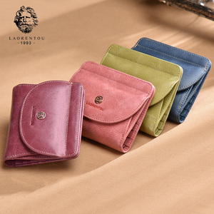 Image 4 - LAORENTOU Brand Women Short Wallets Genuine Leather Standard Wallets Fashion Zipper Purse Lady Coin Pocket Card Holder for Woman