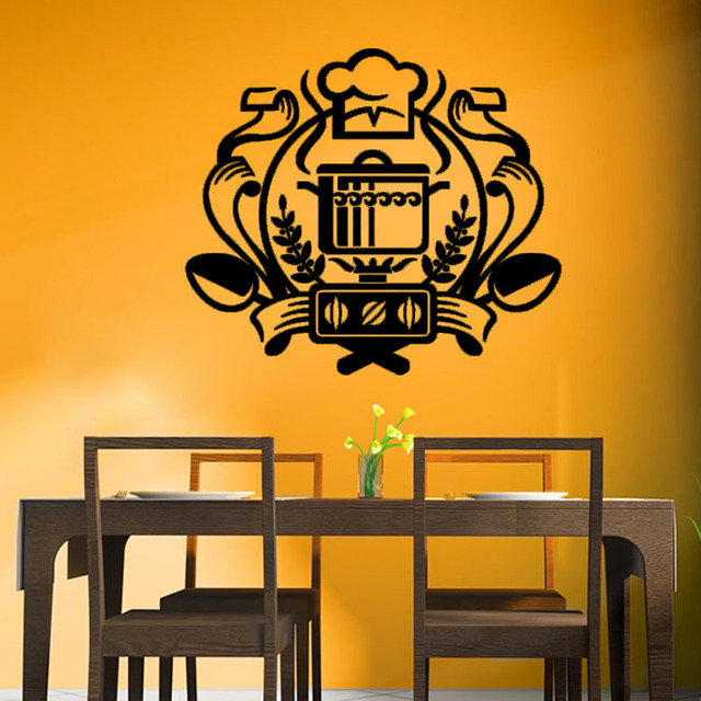 Chef Badge Wall Decal Kitchen Wall Sticker Home Decor Cauldron On ...