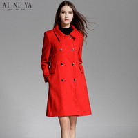 2018 New Red Women Autumn Winter Coat Double Breasted Women Long Wool Coat Office Business Jacket