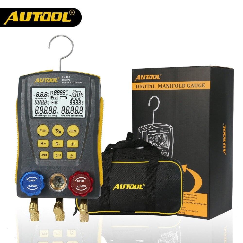 AUTOOL LM120 Refrigerante ATAC Refrigeração Manómetro Digital Medidor De Pressão De Vácuo Frio Médio Temperatura Tester mesmo que Testo