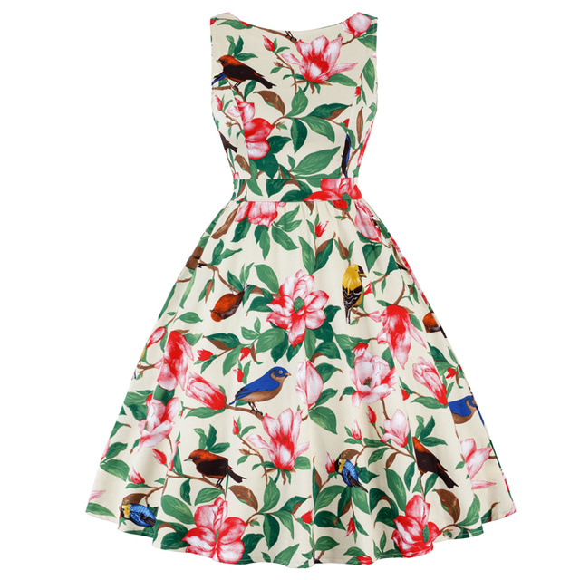 e655d14dc4d87 Kenancy Women Plus Size Butterfly Print Vintage Dress Summer 50s Rockabilly  A-Line Party Dress