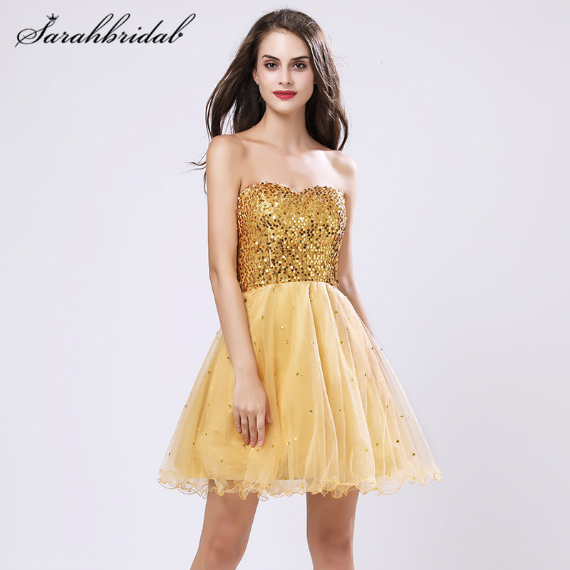Youthful Tulle Sequined Short Homecoming Dresses For Girl A-Line Sweetheart Cheap Hot Mini Back Lace Party Gown Sleeveless SD032