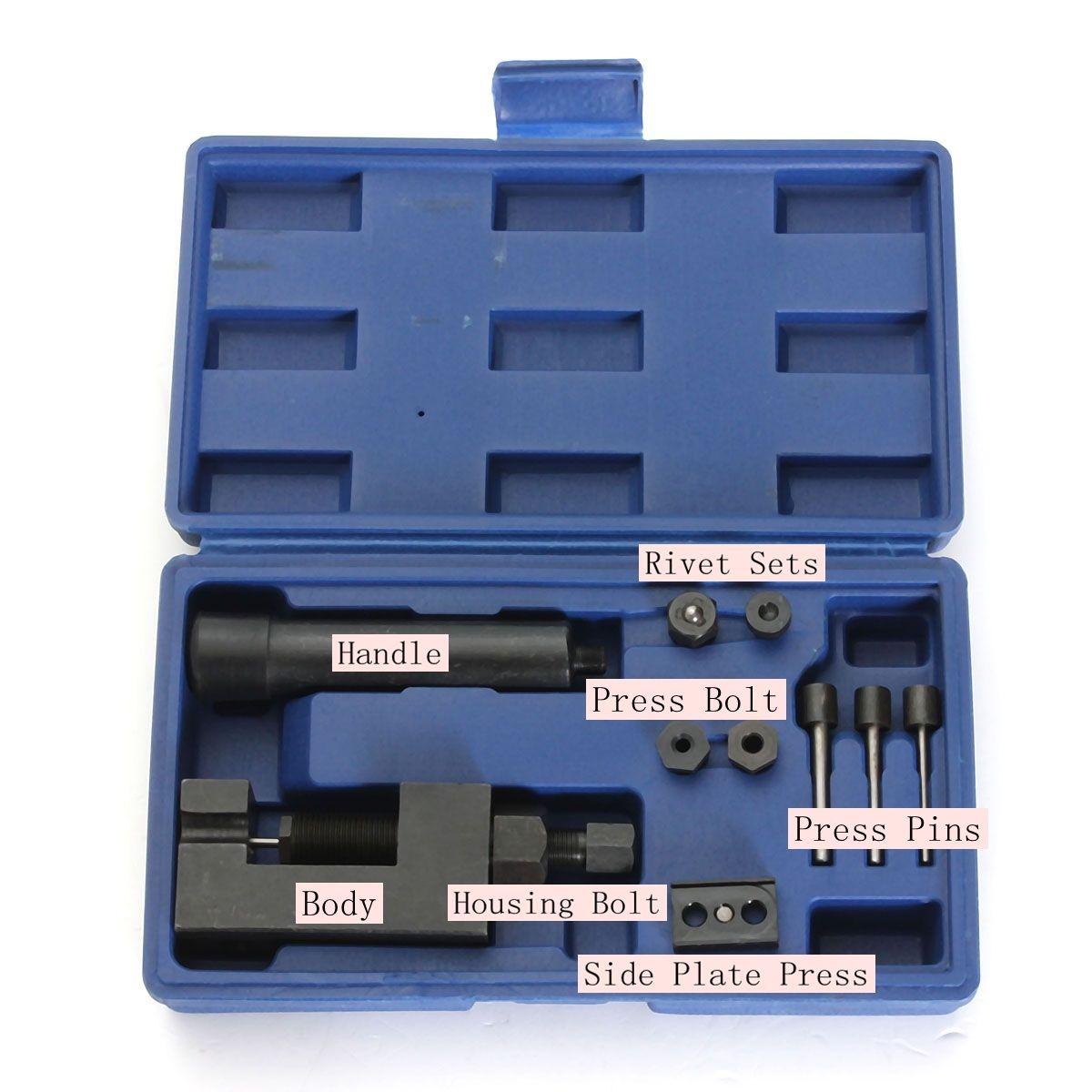 Motorcycle Heavy Duty Chain Breaker Cutter Riveter Tool Kit 520/525/530 Splitter