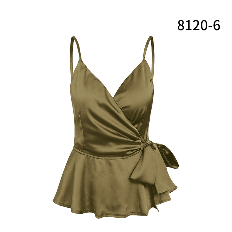 Harajuku off shoulder v neck women sexy tops sleeveless summer clothes for women with belt green top plus size women black top in Camis from Women 39 s Clothing