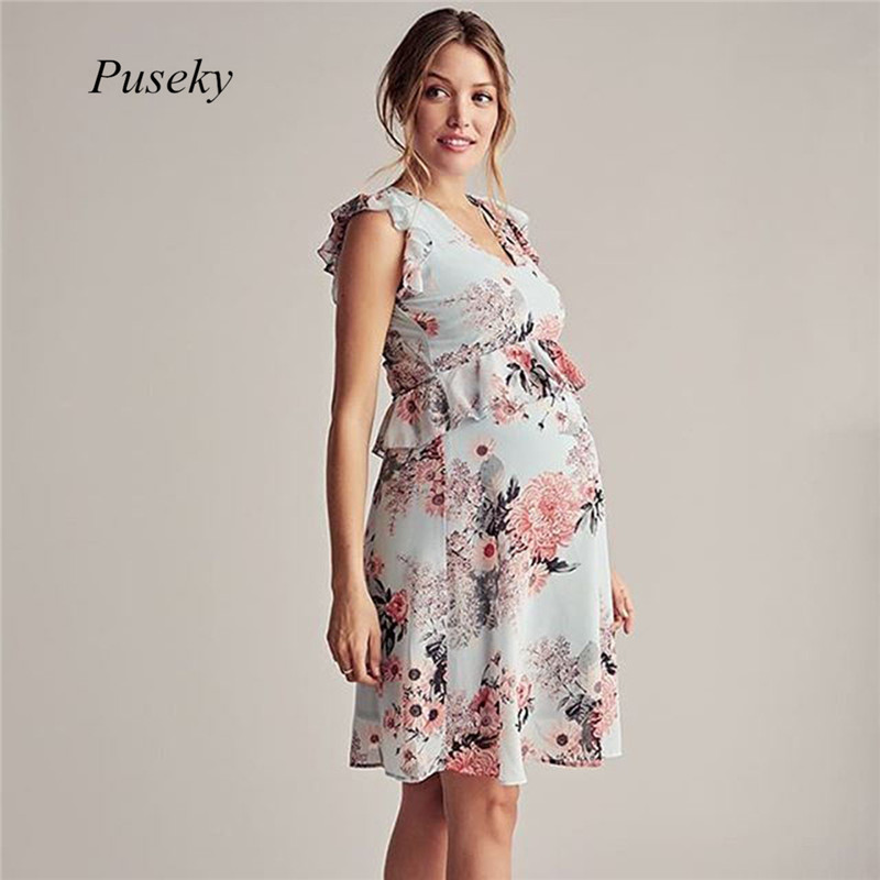 Summer Casual Style Printing Ruffles Sleeveless O-neck Knee-Length Maternity Pregnant Dress Photography Props Light Green XL