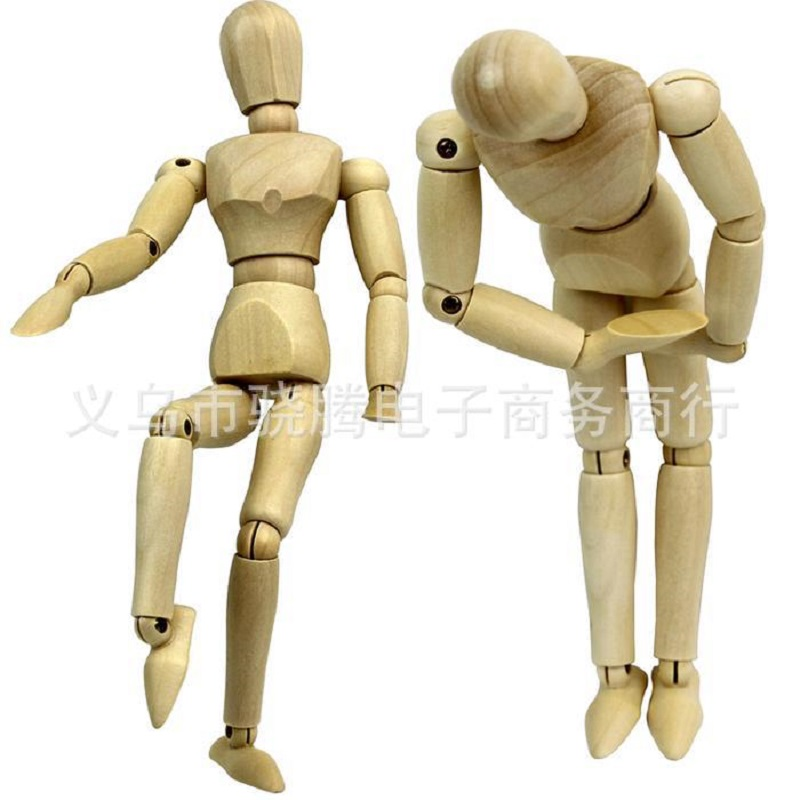 1Pcs Joint Activity Wooden Mannequin Soft Ceramic Clay Tools Wood+Stell DIY Sculpture Tools Bump Pens Height4.5