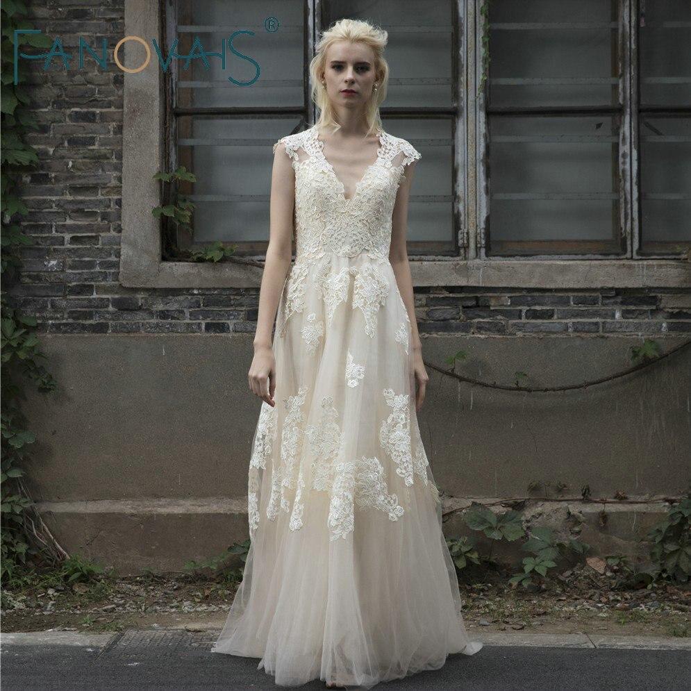 Vintage Lace Boho Wedding Dress robe de mariage gelinlik Beach Lace ...