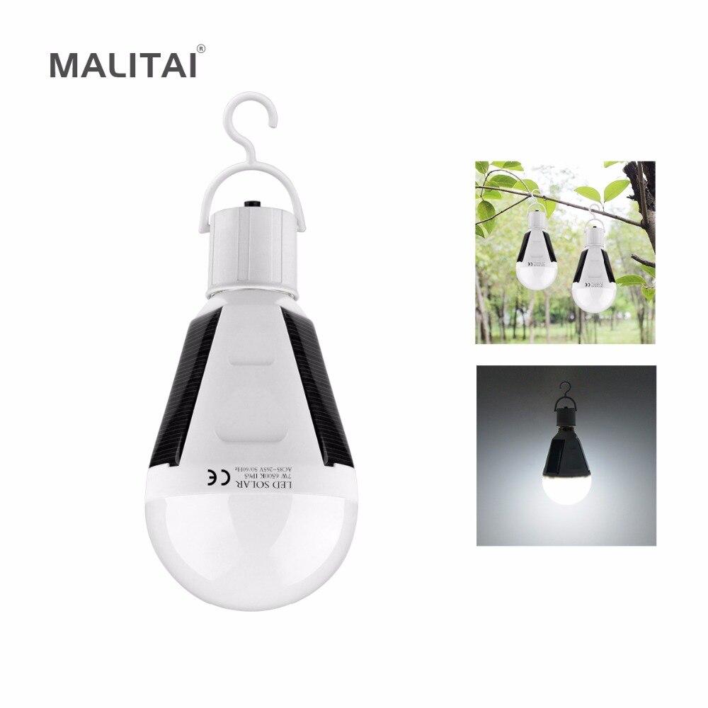 Tragbare E27 Wiederaufladbare LED Solar lampe 7 Watt 12 Watt 85 V-265 V Smart Stromausfälle Notfall Lampe Camping Wandern Angeln Outdoor licht