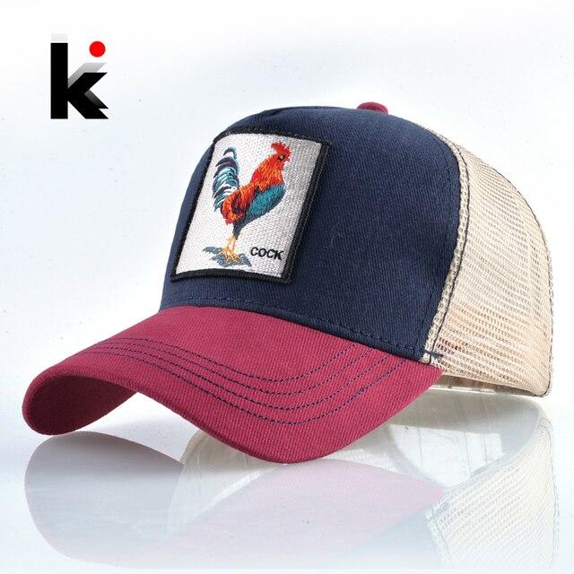 Gorra de béisbol de moda superior para hombres mujeres verano malla bordado  Gallo camionero huesos Snapback 841ea95f9c9