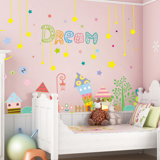 Dream Cartoon House Fairy Tale Castle Wall Stickers Kids Room Decor Diy  Mural Decals Removable Wallpaper