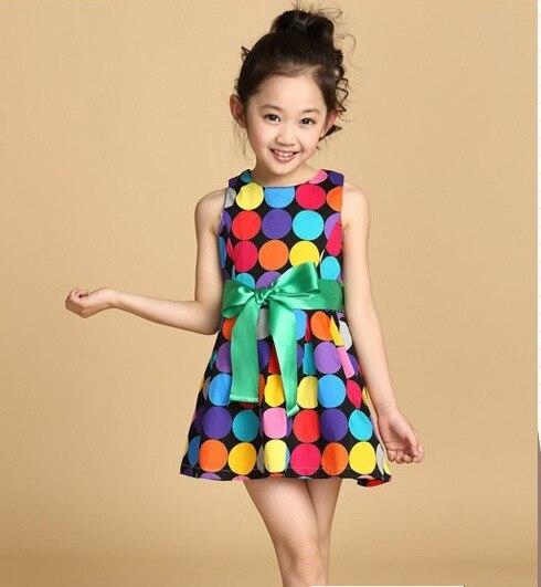 2016 summer girls dress, toddler girls vest dress 3 4 5 6 7 8 9 10 years old kids rainbow dot dress Bow Princess Dress