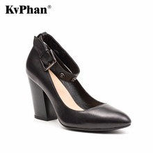 KvPhan Black SEXY series High Heels Women Shoes Ginuine Leather Buckle Strap Slip-on Party Shoe Square Heels Dress Women Shoes