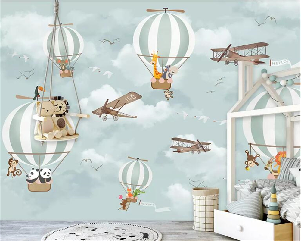 Beibehang Large 3D Wallpaper Mural Cartoon Hot Air Balloon Airplane Animal Children Room Background Wall Wallpaper For Walls 3 D