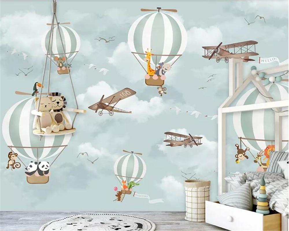 Beibehang Large 3D Wallpaper Mural Cartoon Hot Air Balloon Airplane Animal Children Room Background Wall Wallpaper For Walls 3 D