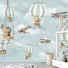 3D Wallpaper Mural Beibehang Children Room Hot-Air Cartoon Balloon for Airplane Background