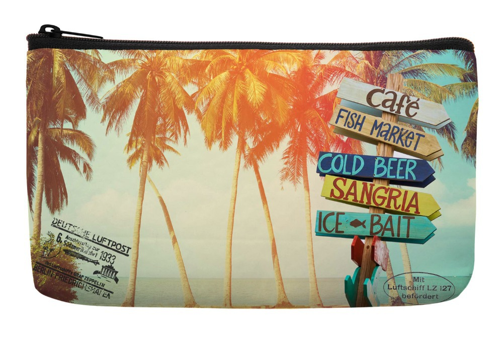 f213d3908 Summer Style Palm Trees at Tropical Postcard Print Customized Small  Cosmetic Bag Wristlet Makeup Bags