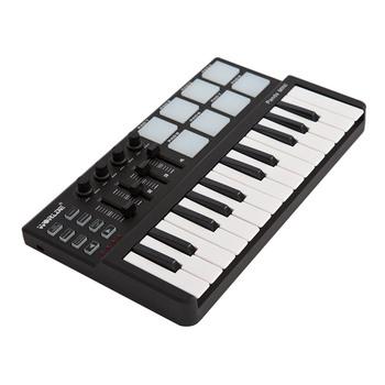 Klawiatura MIDI USB 25 klawiatura MIDI kontroler klawiatura mini przenośna 25 klawiatura klawiatura MIDI sterownik klawiatury zestaw podkładek perkusyjnych z kablem USB tanie i dobre opinie WORLDE CN (pochodzenie) Do profesjonalnych wykonań Grand Piano MIDI Controller Plastic 0 879 11 34 * 20 5 * 5cm Inne