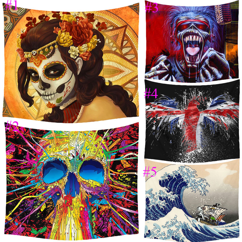 Comwarm Hippie Punk Skull Painting Pattern Tapestry Polyester Wall Hanging Gobelin Beach Picnic Yoga Rug Mat Home Decor Crafts