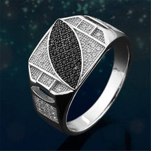ZORCVENS New Style Size 6-10 Classic Silver-color Rhinestone Men Ring Black Leaf Male Finger Rings Best Selling(China)