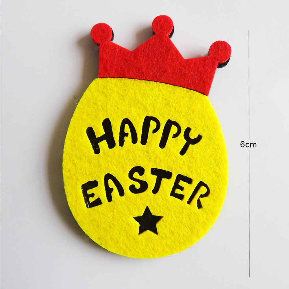10Pcs/Lot 6 cm new Easter Egg with Crown Felt Crafts for DIY happy easter Home Party Favor Kids Gift Patch
