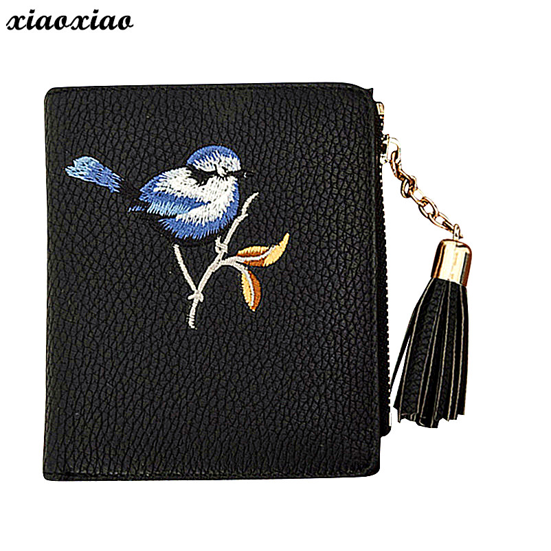 NewWomen Embroidery Bird Tassel Clutches Wallet  Cardbag Tote Ladies Purse Bags For Women 2018 yuanyu 2018 hot new free shipping real crocodile women bag fashion women clutches new women wallet women purse
