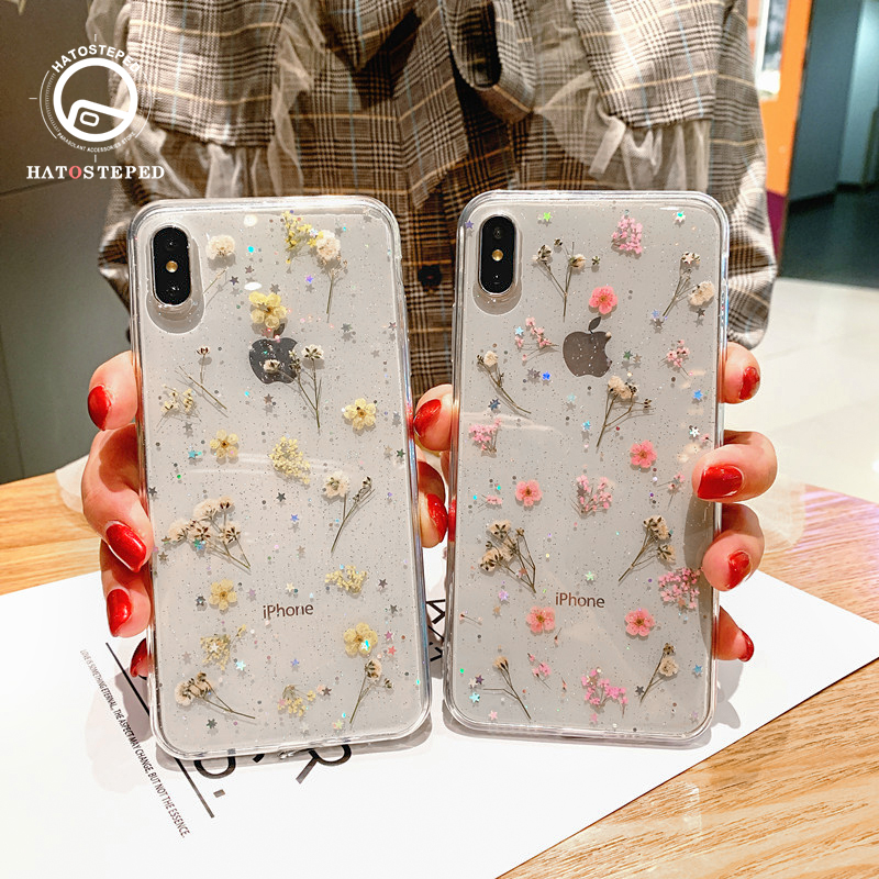 For Iphone 7 8 6 Plus Real Flower Transparent Floral Phone Case For Iphone X XS 6 6s 7 8 Plus Gel Dried Soft Silicone Cover Case