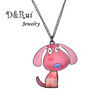 Pink Puppy Necklace Women Trendy Long Chain Alloy Pendant Jewelry For Girl Statement Charm Accessories Party Gifts 2019 Hot Sale