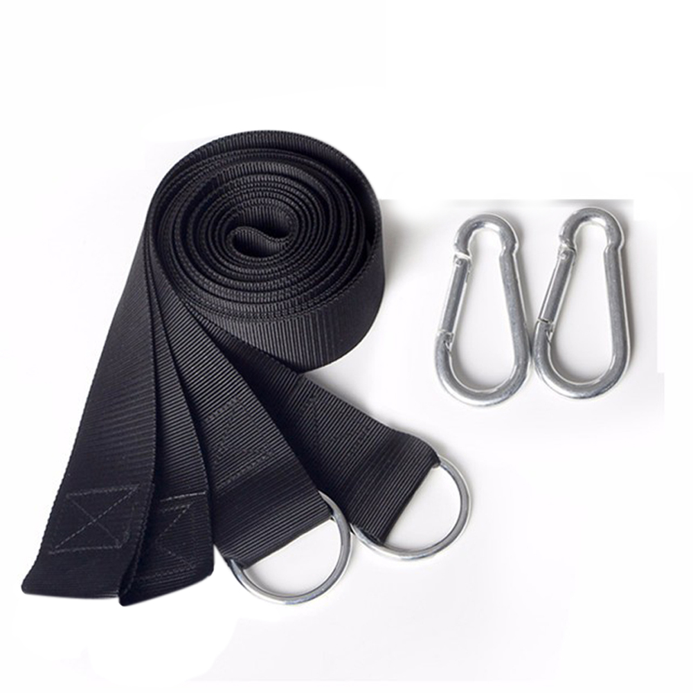 200KG Capacity Outdoor Hammock Hanging Belt Bed Strap Rope Hammock with Metal Buckle Carabiner For Outdoor Camping Hiking