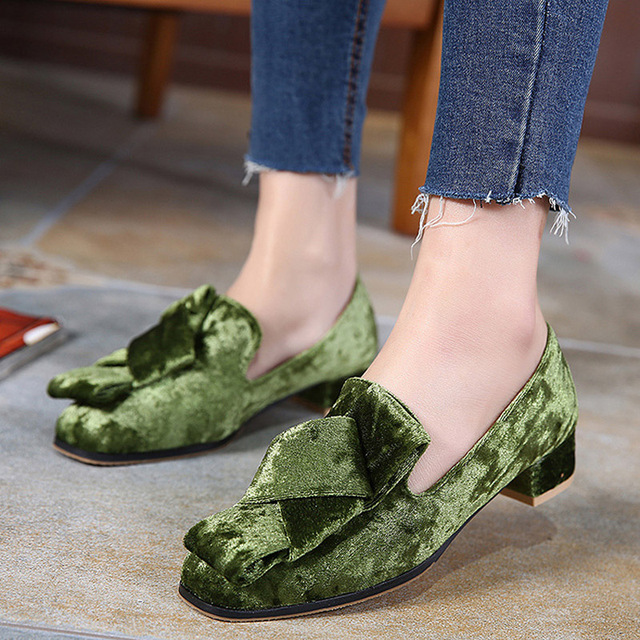 HEE GRAND 2017 Velvet Flats Slip On Vintage Oxfords Casual Knot Shoes Woman British Style Women Brogue Shoes Size 35-40
