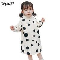 HziriP 2017 New Winter Baby Girl Dress Fashion Turtleneck Sweatshirts Plus Velvet Princess Dresses For Children