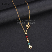 Eleple Creative Stainless Steel Fine Key Lock Necklaces for Women Long Sweet Crystal Inlaid Fashion Necklace Manufacturers S-N31