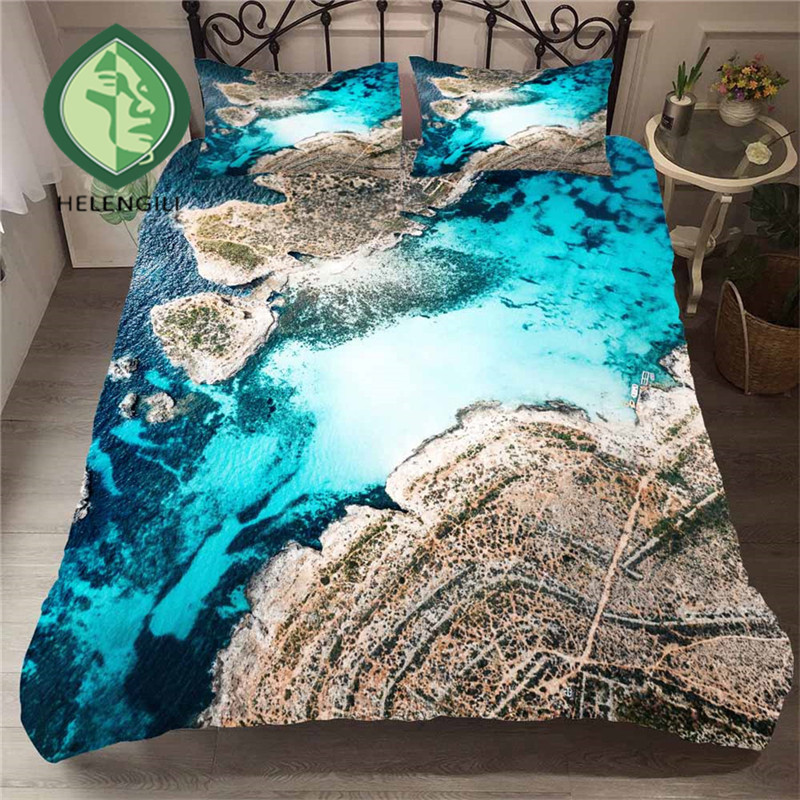 HELENGILI 3D Bedding Set Beach Sea Print Duvet Cover Set Lifelike Bedclothes With Pillowcase Bed Set Home Textiles #ST-16