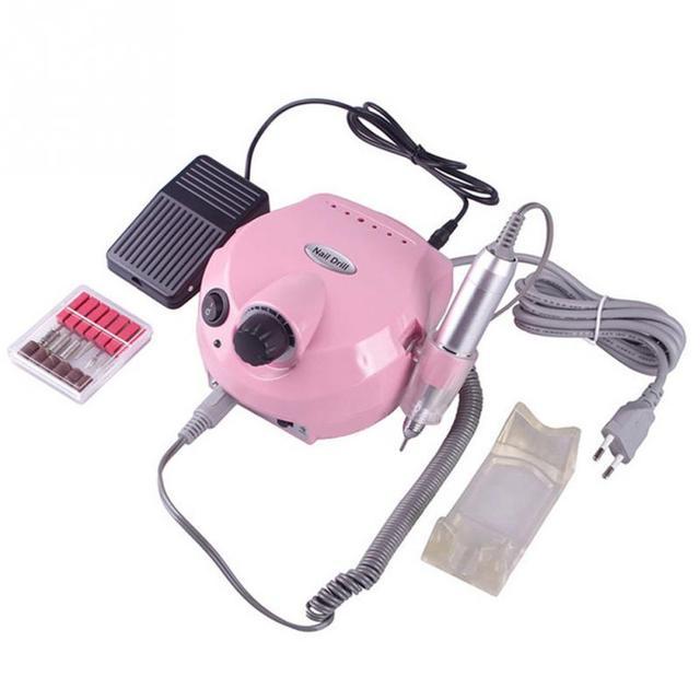 15W UK Plug Electric Nail Drill & Nail Manicure Machine with 6 drill ...