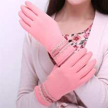 2019 NEW Woman Gloves Autumn Winter Plush Lined Keep Warm Driving Touchscreen Female Wrist Lace Decoration XSS02