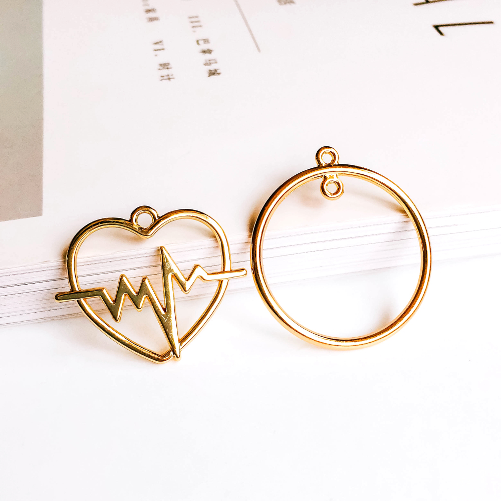 ZEROUP KC Gold Plated Round Heart Eardrop Pendant Charms Connector Jewelry Component Diy Material for Earring Necklace 6pcs