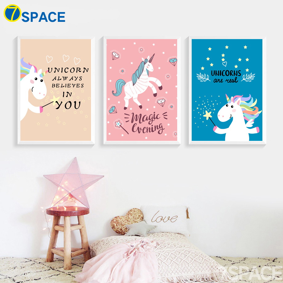 Cartoon Unicorn Quotes Posters And Prints Wall Art Canvas Painting