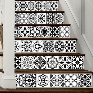 Image 5 - 6PCS White Black Tiles Stairs Stickers Home Decal Staircase Stair Floor Sticker DIY Wall Floor Decal Stair Decal Decoration