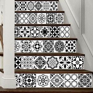 Image 5 - 6PCS לבן שחור אריחי מדרגות מדבקות בית מדבקות מדרגות מדרגות רצפת מדבקת DIY קיר לקיר מדבקות מדרגות מדבקות קישוט