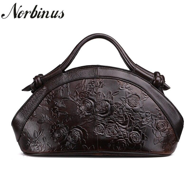 Norbinus Luxus Handtaschen Frauen Taschen Designer Geprägt Echtem Leder Handtasche Weibliche Marke Schulter Umhängetasche Messenger Bag Tote