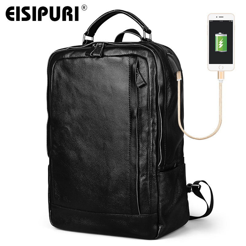 EISIPURI 100% Genuine Leather Backpack Men Large Capacity 15.6 Laptop Bagpack with USB Charger Port Fashion Travel School BagsEISIPURI 100% Genuine Leather Backpack Men Large Capacity 15.6 Laptop Bagpack with USB Charger Port Fashion Travel School Bags
