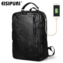 """EISIPURI 100% Genuine Leather Backpack Men Large Capacity 15.6"""" Laptop Bagpack with USB Charger Port Fashion Travel School Bags"""