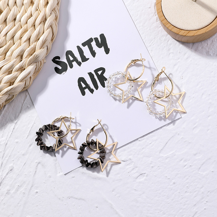 Popular Hollow Five-pointed Star Rhinestone Ring Earrings for Women Girls Personality Fashion Simple Star Crystal Earrings
