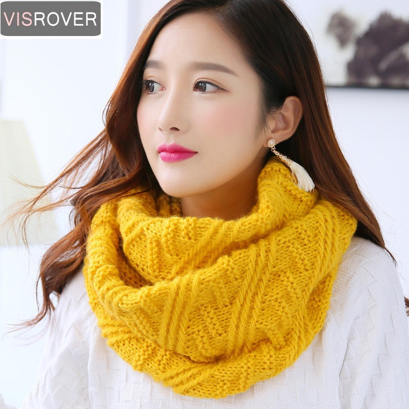 VISROVER 2018 Scarves Women Winter Knitted Lic Scarf Warm Infinity Snood Ladies Ring Loop Scarf Fashion Unisex Circle Neckchief
