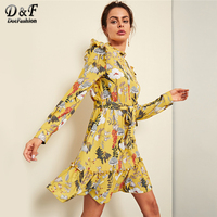 Dotfashion Floral Ruffle Button Belted Frill Trim Botanical Dresses Women Casual Autumn Stand Collar High Waist Yellow Dress