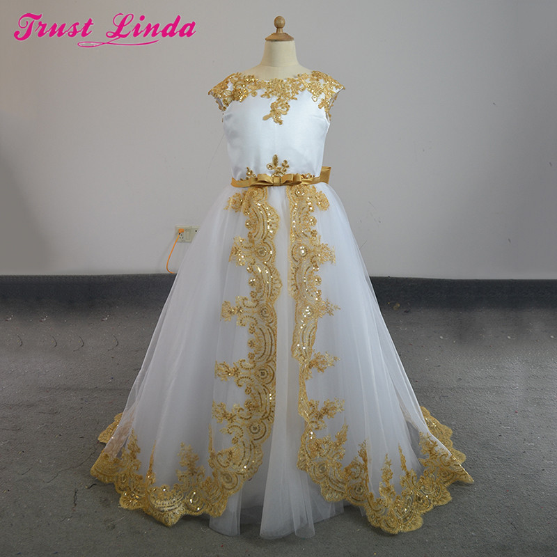 Romantic A Line Gold Lace Bow Beading Sequined O-Neck Weddings   Girl     Flower     Girl     Dress   2018 Party Communion   Dress   Pageant Gowns