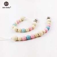 2pc Baby Teething Pacifier Pink And Blue Teether Chewing Silicone Beads DIY Wooden Chew Jewelry Beads