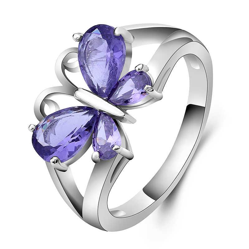 รูปผีเสื้อสีม่วง Zircon แหวนผู้หญิงสีดำทองงานแต่งงานแหวนหมั้นแหวน Bijoux 4 ประเภท