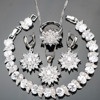 87d3aa2b0832 Nickle Free Silver 925 Wedding Classic Flower White Stones Jewelry Sets For  Women Bracelets Earrings Pendant. Zirconia blanca plata ...